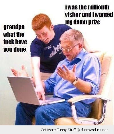 old man grandpa internet laptop computer boy millionth visitor prize funny pics pictures pic picture image photo images photos lol