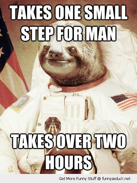 one small step over two hours sloth space man astronaut happy animal funny pics pictures pic picture image photo images photos lol