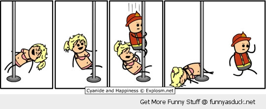 cyanide and happiness pole dancer stripper fireman comic funny pics pictures pic picture image photo images photos lol