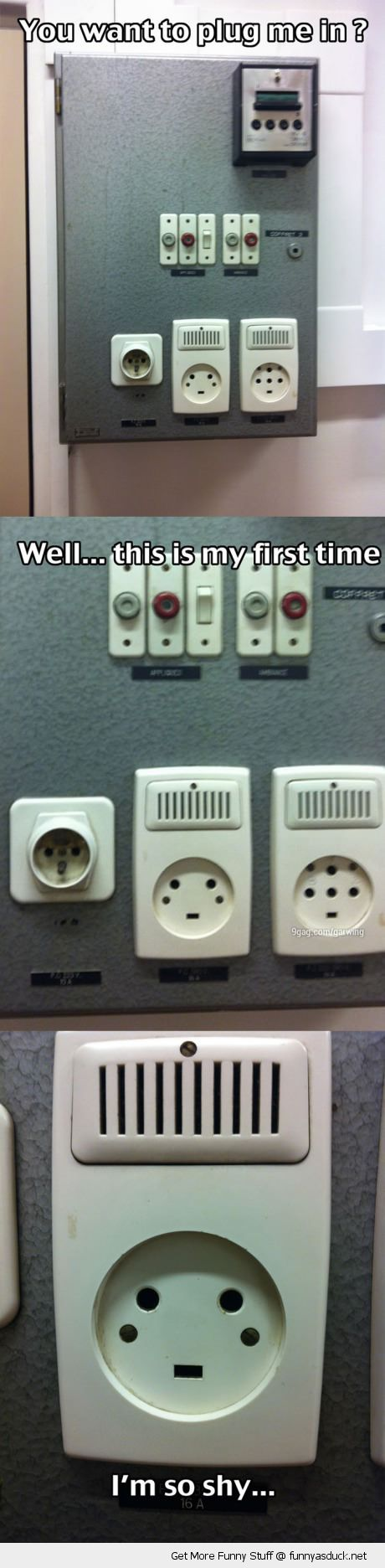 power socket plug in first time i'm shy face funny pics pictures pic picture image photo images photos lol