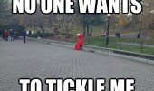 sad elmo sitting park bench no one wants cuddle me tickle costume funny pics pictures pic picture image photo images photos lol