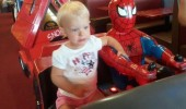 scared kid girl spider man ride slow down kill us funny pics pictures pic picture image photo images photos lol