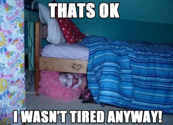 thats ok wasn't tired anyway woman dressed evil clown under bed costume funny pics pictures pic picture image photo images photos lol