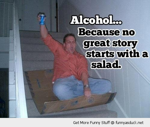 alcohol salad man sliding stairs cardboard box beer funny pics pictures pic picture image photo images photos lol