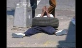 oh man so tired tire laying down street guy pun funny pics pictures pic picture image photo images photos lol