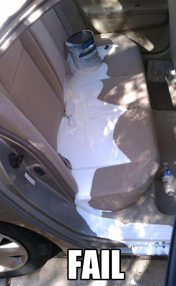 paint can spilled spill back seat car fail funny pics pictures pic picture image photo images photos lol