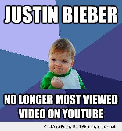 success kid meme justin beiber no longer most viewed video you tube psy gangnam style funny pics pictures pic picture image photo images photos lol
