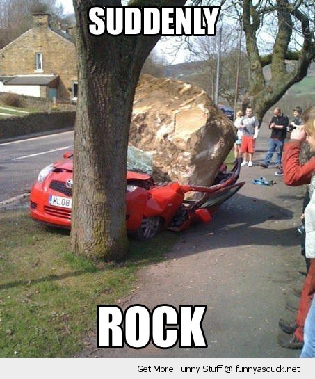 suddenly rock crashed car tree funny pics pictures pic picture image photo images photos lol