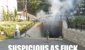suspicious man subway tunnel underground smoke walking fire funny pics pictures pic picture image photo images photos lol