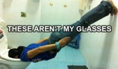 aren't my glasses girl planking face in toilet funny pics pictures pic picture image photo images photos lol