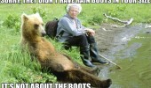 sorry didn't have rain boots your size man bear sitting fishing angry sulk animal funny pics pictures pic picture image photo images photos lol