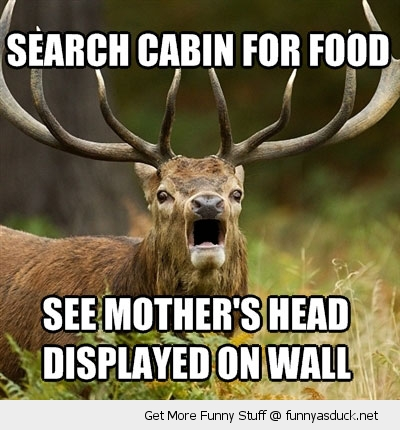 shocked elk deer cabin food sad mothers head animal funny pics pictures pic picture image photo images photos lol