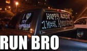 run bro overly attached girlfriend week anniversary wrote truck window car funny pics pictures pic picture image photo images photos lol
