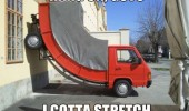 weird bendy bent truck van car lorry hang on guys gotta stretch funny pics pictures pic picture image photo images photos lol