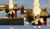 big massive tall snowman winter family kill me funny pics pictures pic picture image photo images photos lol