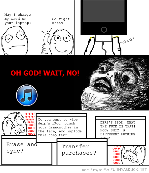 charge ipod itunes apple friends computer laptop rage comic sync funny pics pictures pic picture image photo images photos lol
