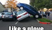 car crash parking lot fail like a glove funny pics pictures pic picture image photo images photos lol