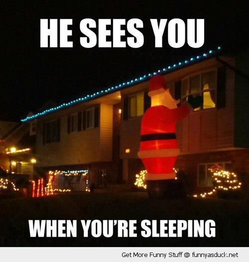 creepy santa inflatable decoration looking window house sees you when sleeping xmas christmas funny pics pictures pic picture image photo images photos lol