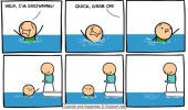 cyanide and happiness comic help drowning grab on boner dick penis funny pics pictures pic picture image photo images photos lol