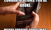 empty wallet congratulations merry xmas christmas you're broke funny pics pictures pic picture image photo images photos lol