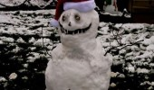 evil snowman teeth scary face eat all children xmas christmas santa hat funny pics pictures pic picture image photo images photos lol