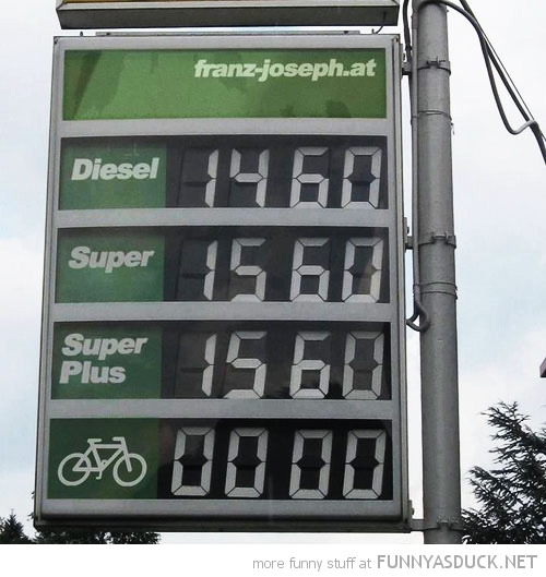 gas petrol station sign bike cycling free zero funny pics pictures pic picture image photo images photos lol