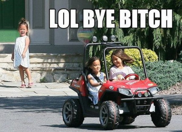 sad crying girl kid toy car laughing bye bitch funny pics pictures pic picture image photo images photos lol