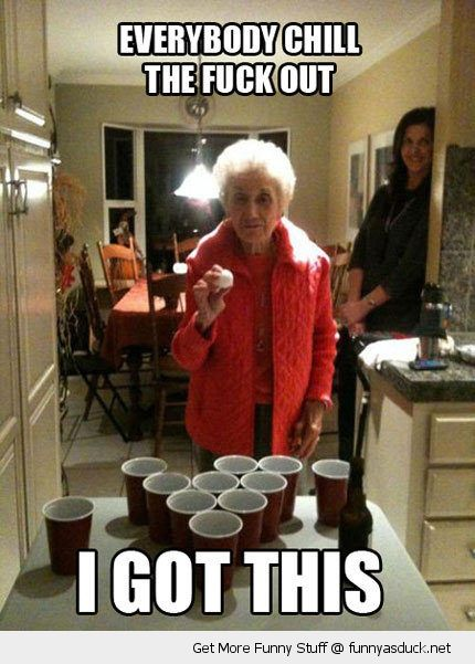 grandma old woman senior citizen playing beer pong calm down chill out ...