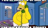 homer simpson tv scene speak up wearing towel funny pics pictures pic picture image photo images photos lol