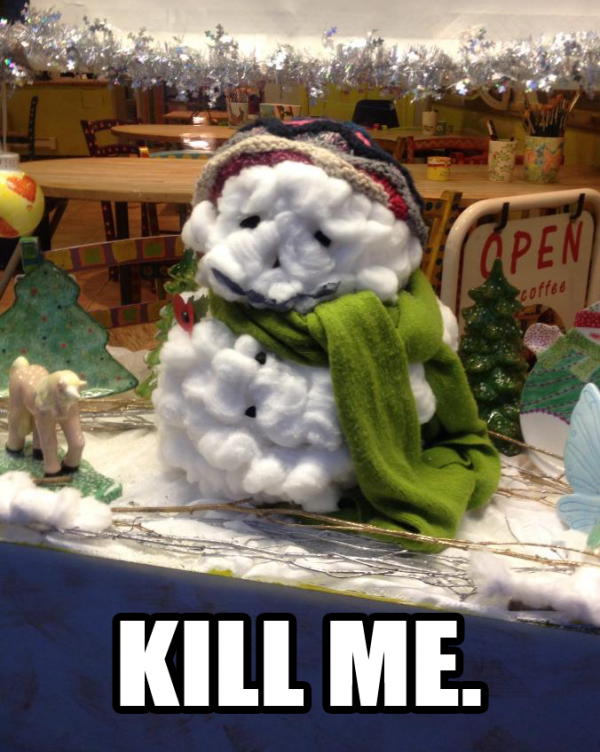 kill me sad fluffy toy snow man store shop display dummy winter xmas christmas depressed melting funny pics pictures pic picture image photo images photos lol