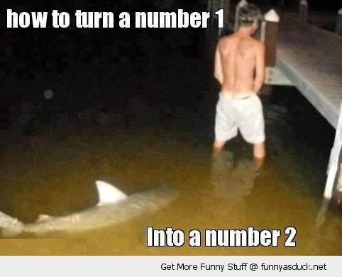 man boy pee piss lake water shark behind turn number 1 2 funny pics pictures pic picture image photo images photos lol