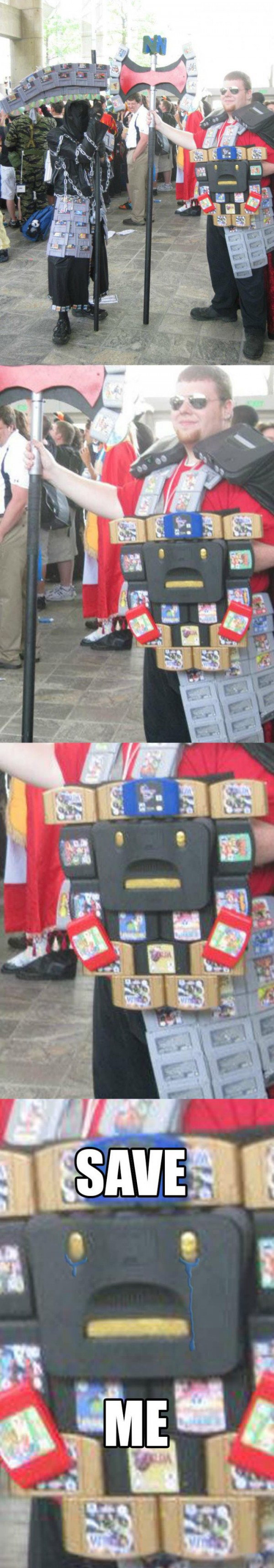 man dressed up n64 nintendo costume face save me sad unhappy funny pics pictures pic picture image photo images photos lol