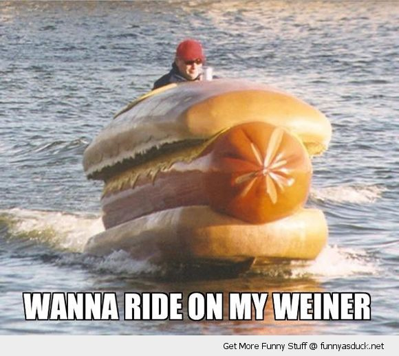 man sailing driving hot dog boat water wanna ride my weiner funny pics pictures pic picture image photo images photos lol