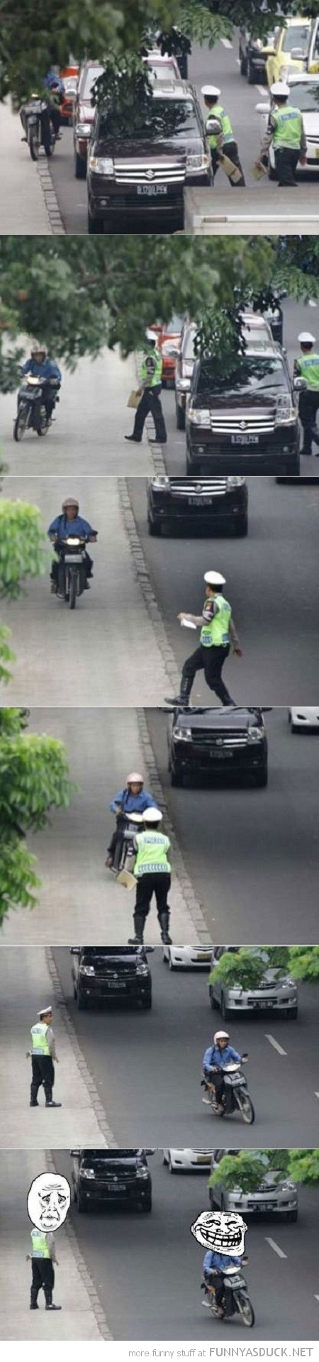 man scooter motorbike sidewalk pavement police cop dodge troll face funny pics pictures pic picture image photo images photos lol
