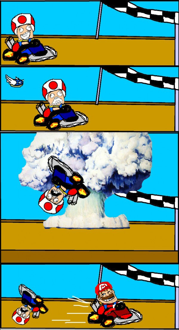 mario kart rage comic toad blue shell gaming nintendo finishing line funny pics pictures pic picture image photo images photos lol