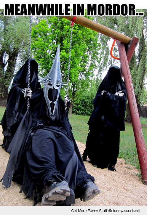 meanwhile mordor nazgul swing playing park lord of rings movie funny pics pictures pic picture image photo images photos lol