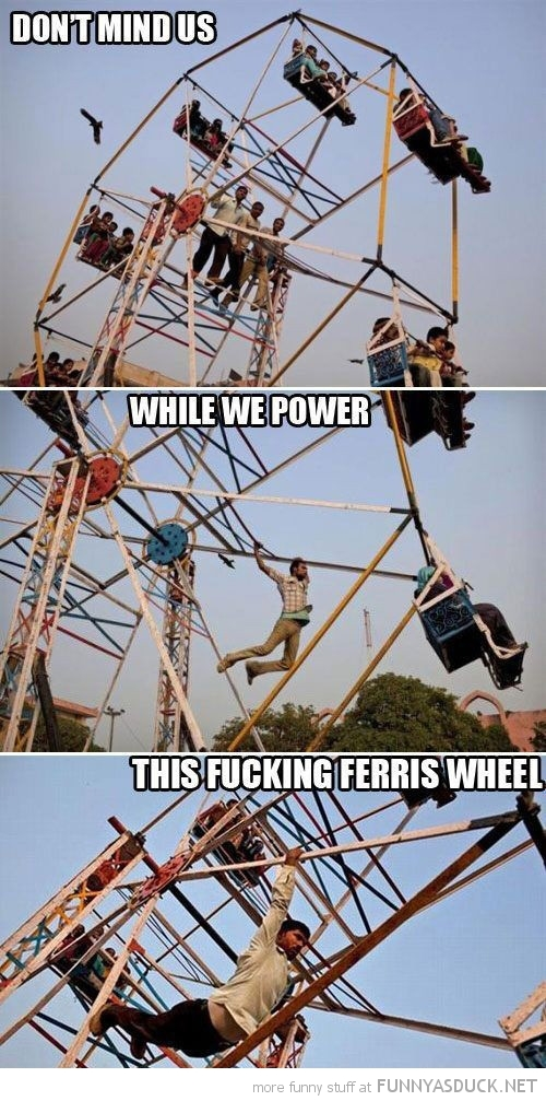 men show attraction ride don't mind us power this ferris wheel funny pics pictures pic picture image photo images photos lol