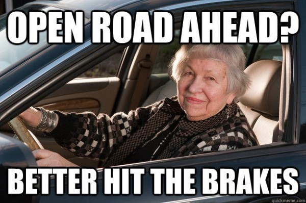 old woman senior citizen driving car open road better break funny pics pictures pic picture image photo images photos lol