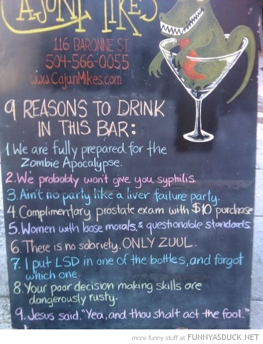 9 reasons drink bar pub sign blackboard funny pics pictures pic picture image photo images photos lol
