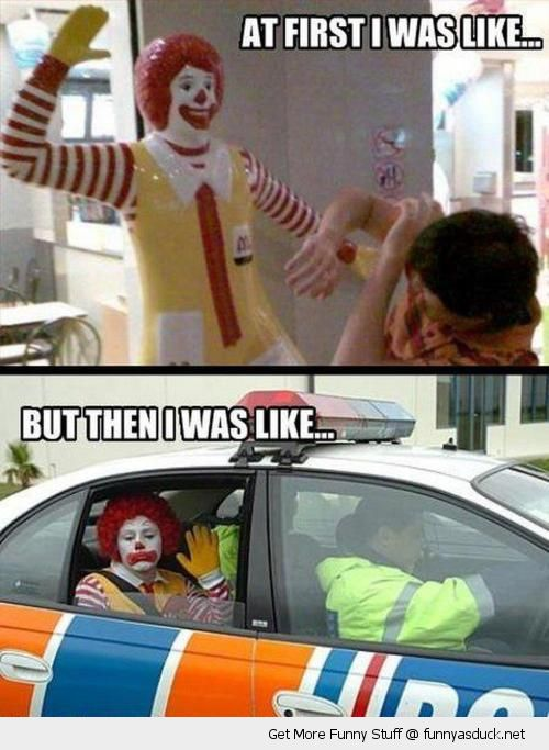 ronald mcdonald clown slap boy police cop car sad first was like funny pics pictures pic picture image photo images photos lol