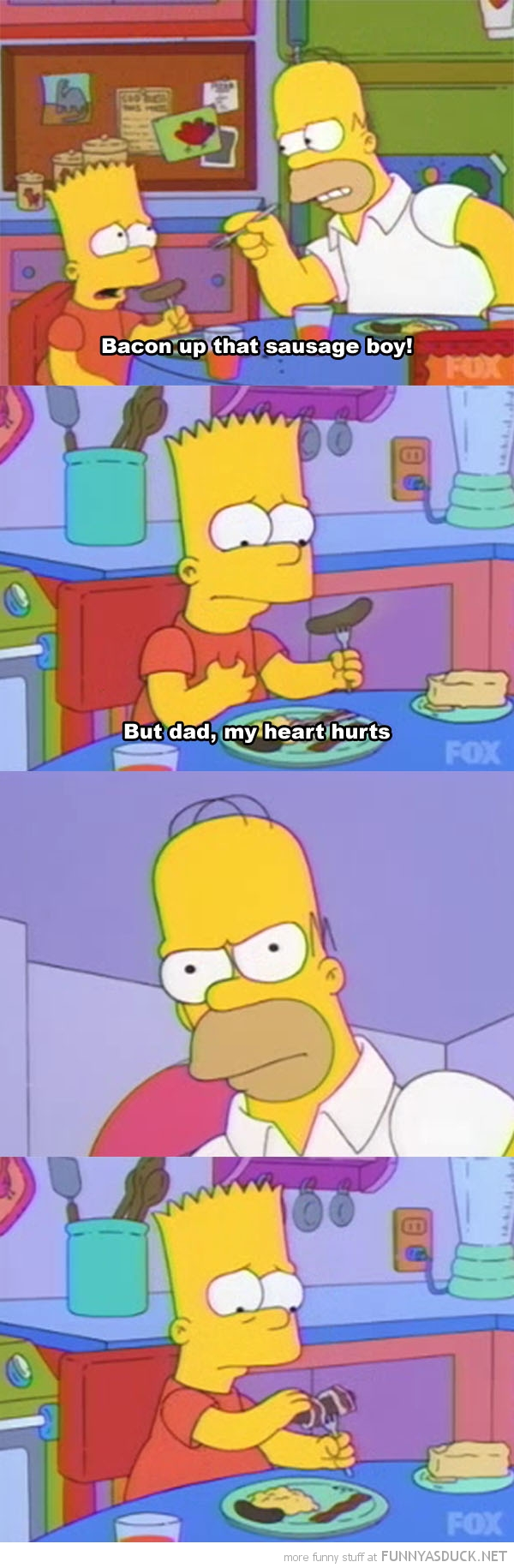 simpsons tv scene bart homer bacon sausage boy funny pics pictures pic picture image photo images photos lol