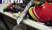 sink full dishes tin foil water jug lazy fuck yeah funny pics pictures pic picture image photo images photos lol
