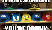 snapback caps faces hats sonic elmo cookie monster go home spongebob drunk funny pics pictures pic picture image photo images photos lol
