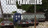 dr who tardis delorean back future caravan mobile home park trailer time travellers meeting funny pics pictures pic picture image photo images photos lol