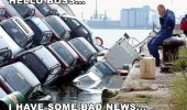 truck lorry full cars crashed river water sinking man phone boss bad news funny pics pictures pic picture image photo images photos lol