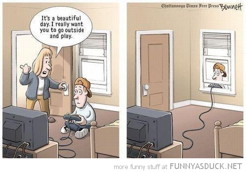 boy gamer beautiful day play outside comic funny pics pictures pic picture image photo images photos lol
