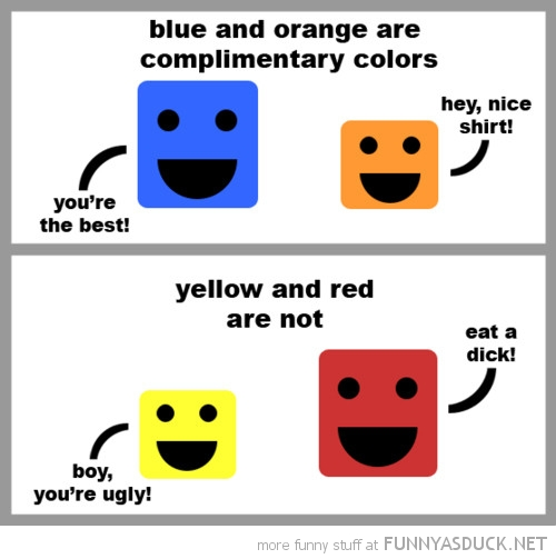 red blue yellow orange complimentary colors comic funny pics pictures pic picture image photo images photos lol