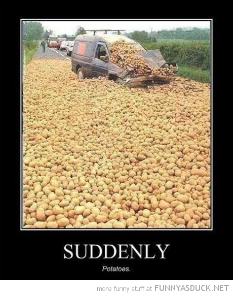 crushed car truck road suddenly potatoes funny pics pictures pic picture image photo images photos lol