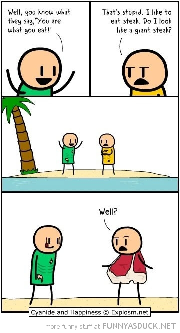 cyanide happiness comic are what eat desert island giant steak funny pics pictures pic picture image photo images photos lol