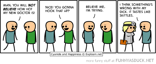 cyanide happiness comic hot doctor dick tastes like skittles funny pics pictures pic picture image photo images photos lol